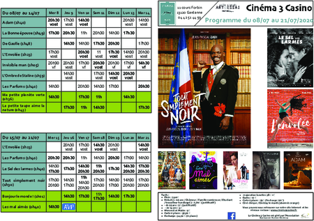 Programme du 08/07 au 21/07