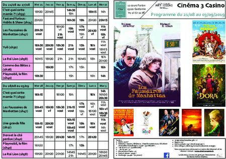 Programme du 21/08 au 03/09
